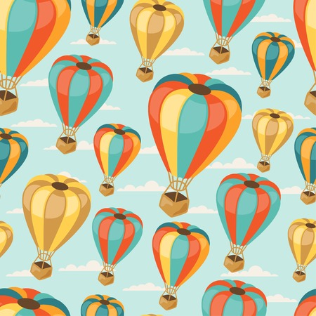 Retro seamless travel pattern of balloons. Vector