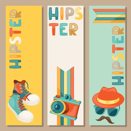 mustached: Hipster style vertical banners.