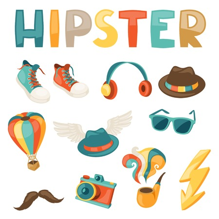 Hipster style elements and objects set. Vector