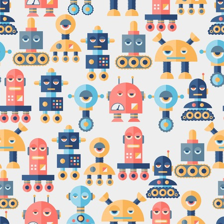 Seamless robots pattern in flat style. Vector