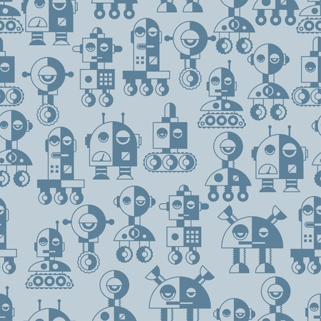 Seamless robots pattern in flat style. Stock Vector - 26589513