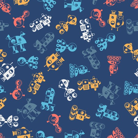 Seamless robots pattern in flat style. Stock Vector - 26589514
