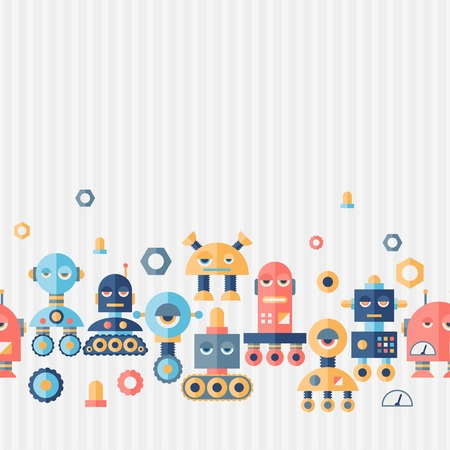 Seamless robots pattern in flat style. Stock Vector - 26589515