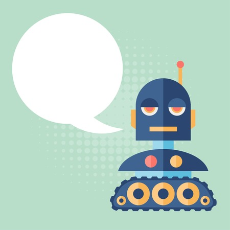 Design robot says something. Vector