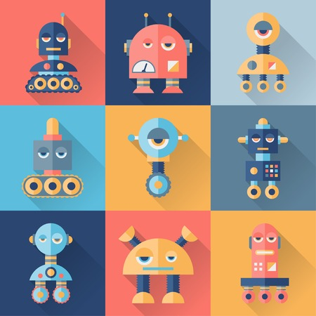Set of robots in flat style. Иллюстрация