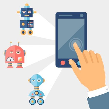 Concept control robots using gadget. Vector