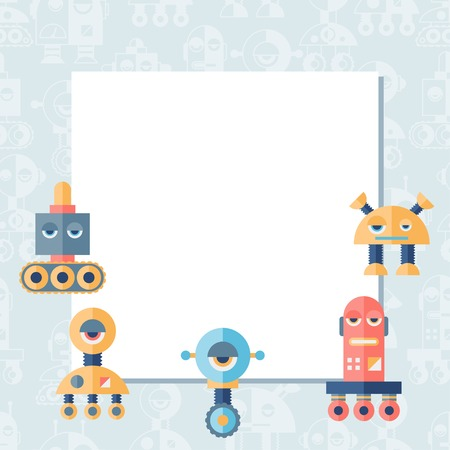 Background with robot in flat style. Stock Vector - 26589518