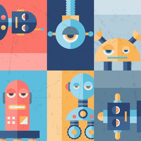Background with robot in flat style. Stock Vector - 26589519