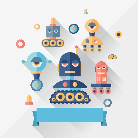 Background with robot in flat style. Vector