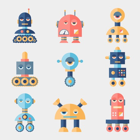 web robot: Set of robots in flat style. Illustration