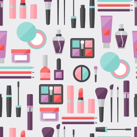 eyeliner: Seamless background with cosmetics icons. Illustration