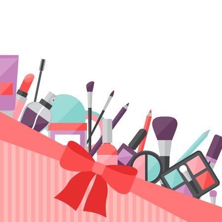 femininity: Beauty background with icons cosmetics.
