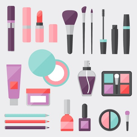 blush: Set of colored cosmetics icons in flat style.