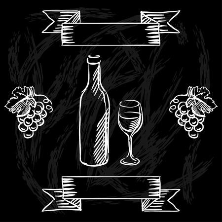 křída: Restaurace nebo bar vinný lístek na tabuli pozadí. Ilustrace