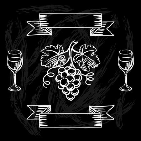 Restaurant or bar wine list on chalkboard background. Vector