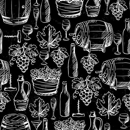 Wine seamless pattern drawn by chalk. Vector