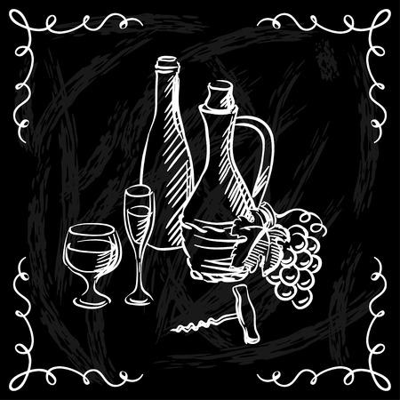 Restaurant or bar wine list on chalkboard background. Stock Vector - 26751892