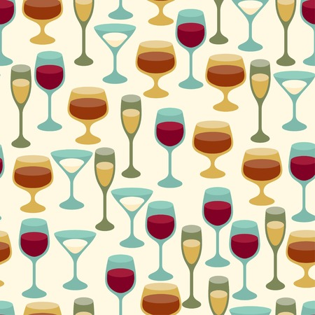 Seamless pattern with wine glasses. Vector