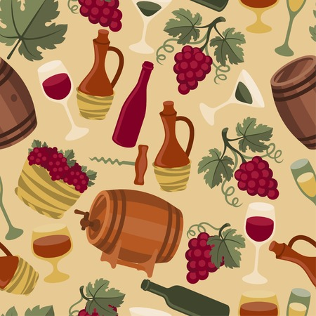 barrel tile: Seamless pattern for wine, wineries and restaurants.