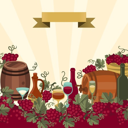 wine and food: Illustration for wine, wineries and restaurants.