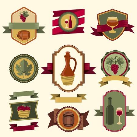 wine making: Set of wine labels, badges and elements. Illustration