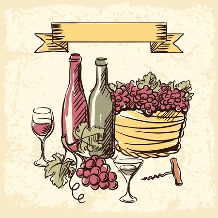 Wine vintage hand drawn illustration. Vector