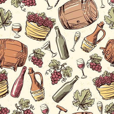 barrel tile: Wine vintage hand drawn seamless pattern. Illustration