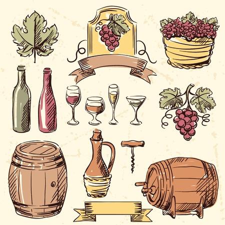 barrels set: Wine vintage hand drawn set. Illustration