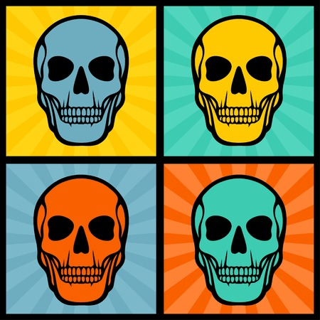 Four illustrations with skulls on pop art background. Vector