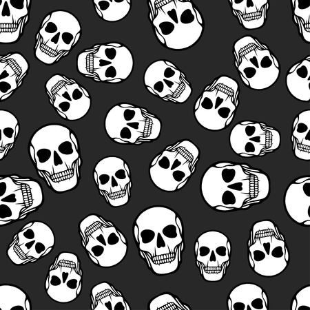 Seamless pattern with skulls. Vector