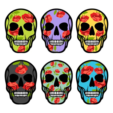 Set of skulls with flowers. Vector