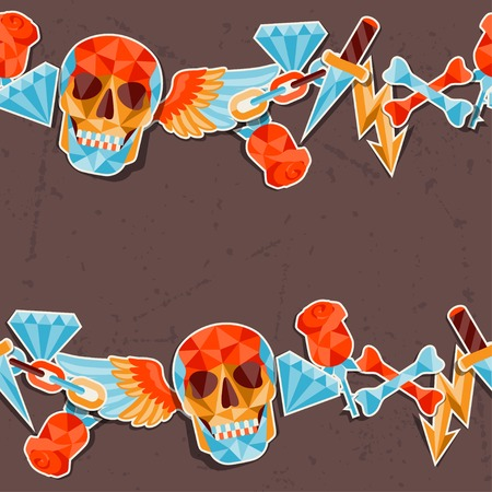 Seamless background with skull and elements. Vector
