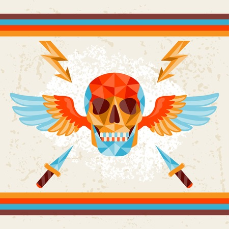 Card with colored geometric skull. Vector