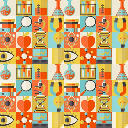 Science seamless pattern in flat design style. Vector