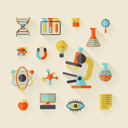 Science icons in flat design style. Vector