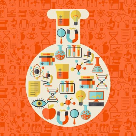 Wetenschap concept illustratie in de vorm van de buis. Stock Illustratie