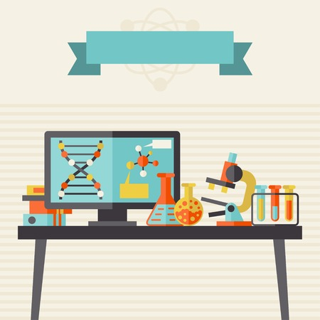 Science concept illustration in flat design style. Vector