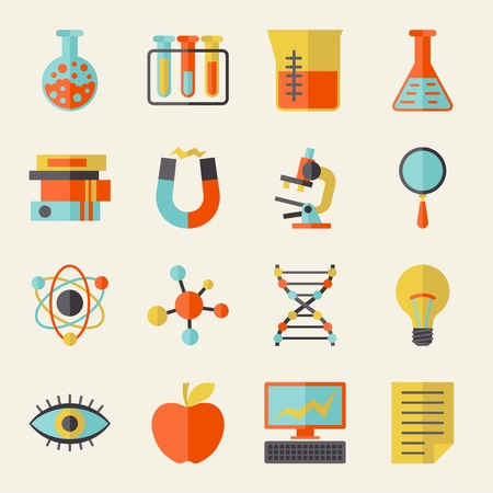 iman: Iconos de la ciencia en el estilo de diseño plano. Vectores