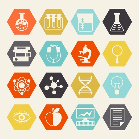 Science icons in flat design style. Illustration