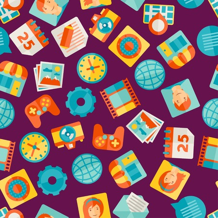 Seamless pattern with web and mobile icons. Vector