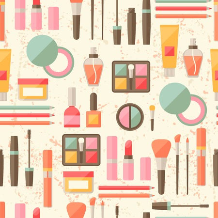makeup brush: Seamless grunge background with cosmetics flat icons.
