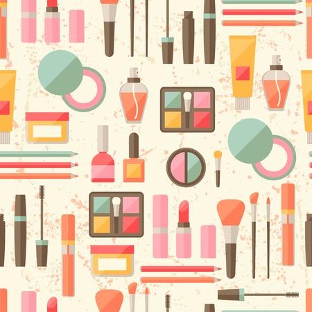 eyeliner: Seamless grunge background with cosmetics flat icons.