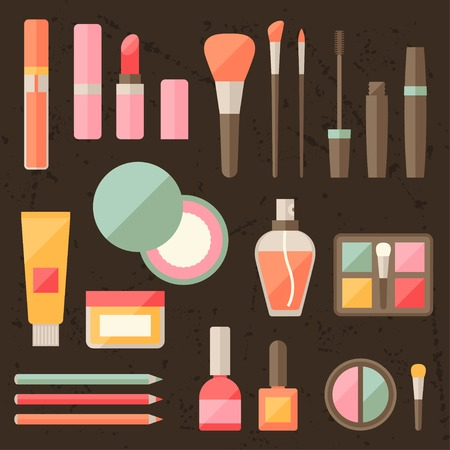 Set of colored cosmetics icons in flat style. Vector