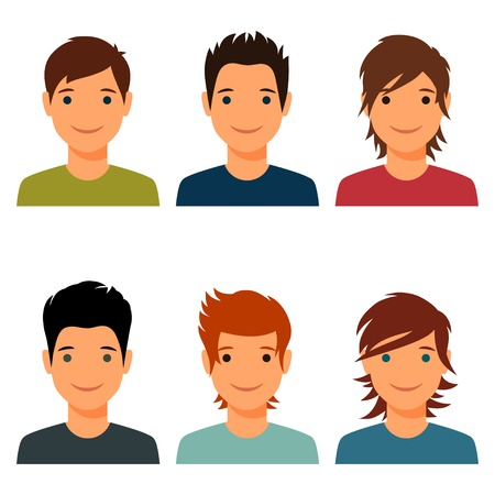 Set of cute young boys with various hair style. Vector