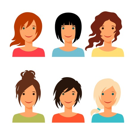 Set of beautiful young girls with various hair style. Vector