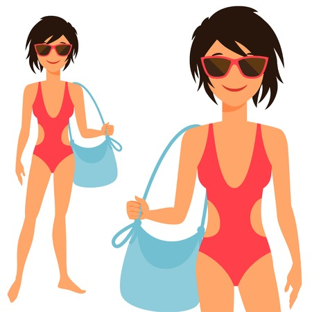 Illustration of young cute girl in swimsuit. Vector
