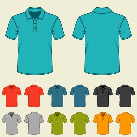 playera negra: Conjunto de plantillas de colores camisas de polo para los hombres.