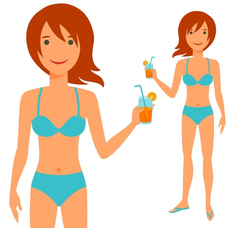 red haired person: Illustration of young cute girl in swimsuit. Illustration