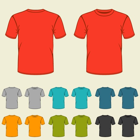 short back: Set of templates colored t-shirts for men.