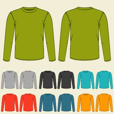 sleeves: Set of templates colored sweatshirts for men.